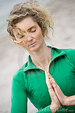 Blond Curly Woman Meditating