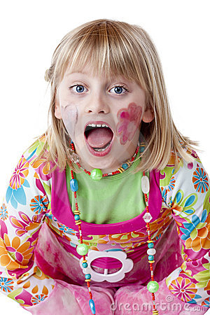 Blond disguised girl with painted cheeks cries