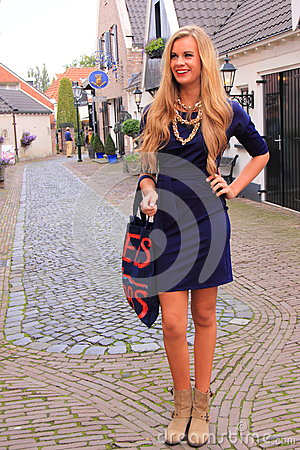 Blond Dutch Woman Street Fashion Editorial Photography Image 60770537