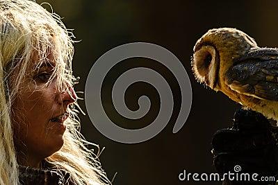 Blond falconry girl gaze to barn owl