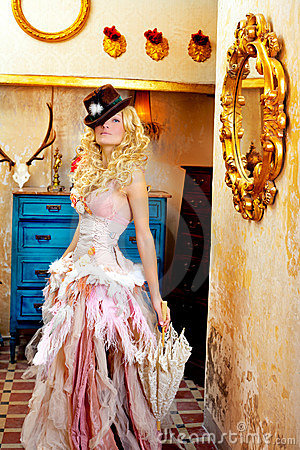 Blond fashion woman in vintage baroque