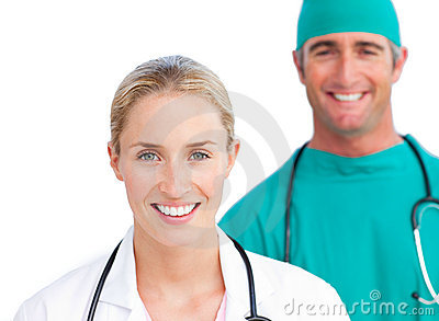 Blond female doctor and smiling surgeon