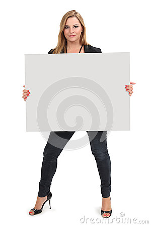 Blond female holding large blank sign