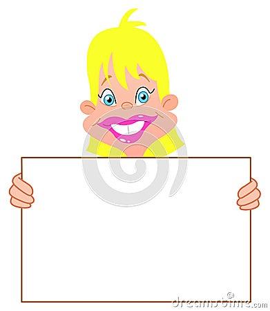 Blond flicka med tecknet