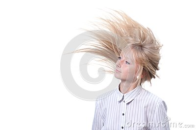 Blond with flying hair white seamless