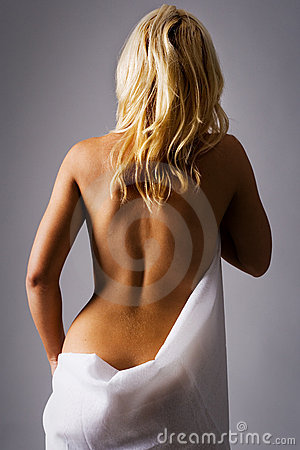 Blond girl with bare back