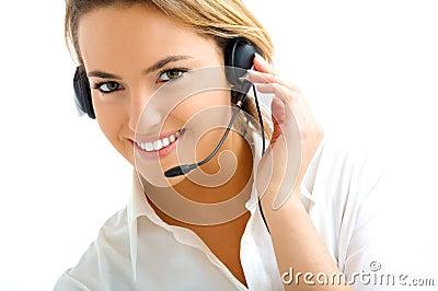 Blond girl in call center