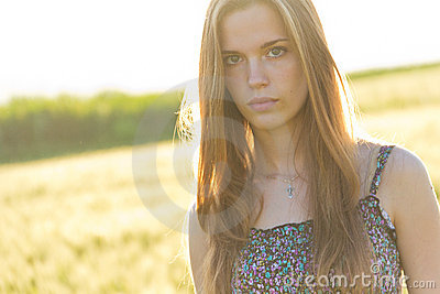 Blond girl in countryside