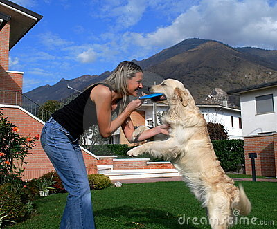Blond girl and dog