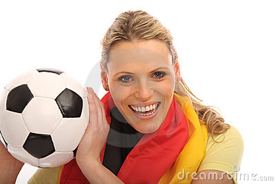 Blond girl with a football