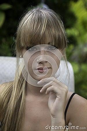 Free Blond Girl Garden Portrait Royalty Free Stock Photo - 41698515