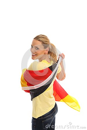 Blond girl with a german flag