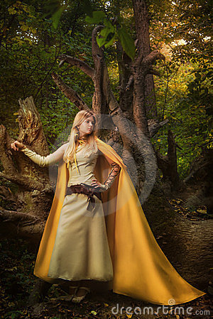 Free Blond Girl In A Magic Forest Stock Photography - 23390362