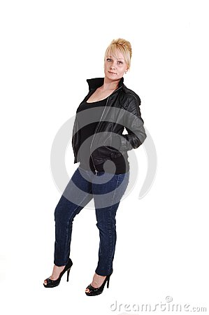 Blond girl in leather jacket.