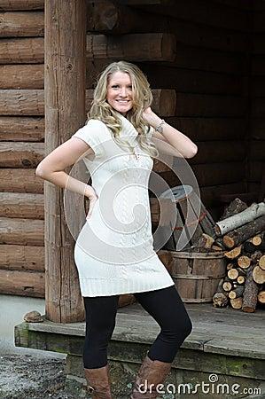 Blond girl log cabin