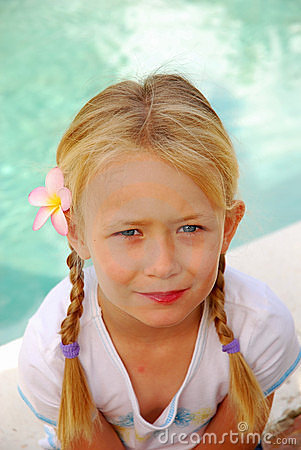 Blond girl with pigtails