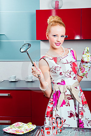 Free Blond Girl Ready For Cooking Royalty Free Stock Photo - 20090495