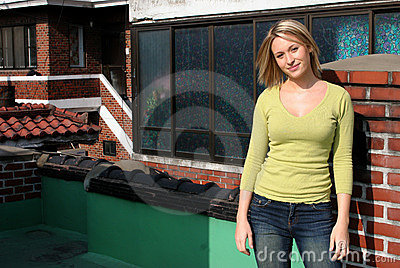 Blond girl on roof top