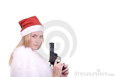 Blond girl in Santa hat with gun