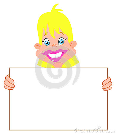 Blond girl with sign