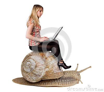 Blond girl on snail