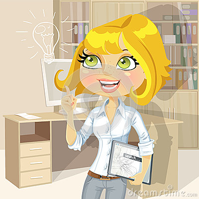 Blond girl with tablet inspiration idea in office