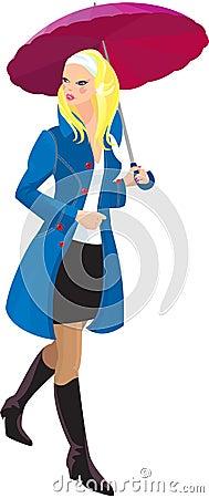 blond girl with umbrella
