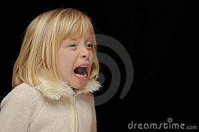 Blond girl yelling