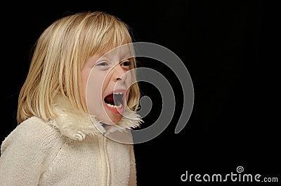 Blond girl yelling