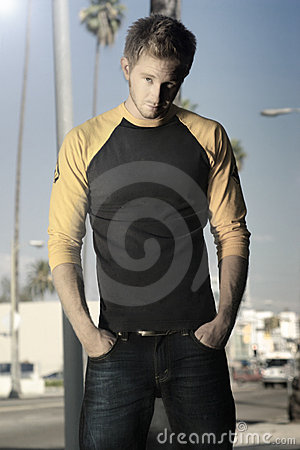 Free Blond Guy Standing On Sidewalk Stock Image - 6593151