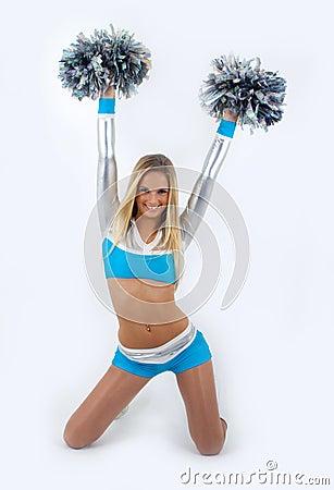 Blond-hair cheerleader with pom-poms.