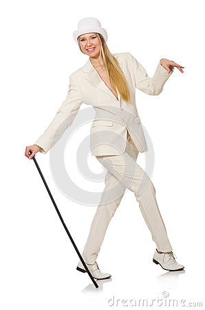 Free Blond Hair Girl With Walking Stick Isolated On Royalty Free Stock Photography - 59745567