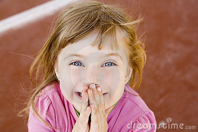Blond happy smiling little girl excited laugh