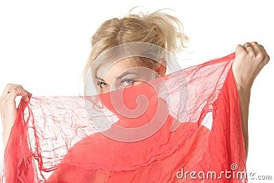Blond hiding face