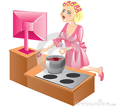 Housewife at the computer
