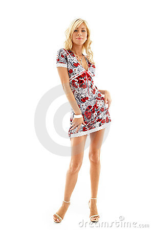 Free Blond In Colorful Dress Royalty Free Stock Image - 1466396