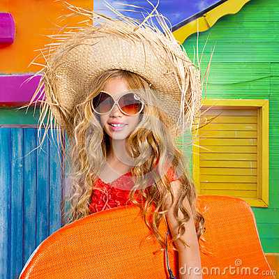 Free Blond Kid Surfer Girl Tropical Vacations With Sunglasses Royalty Free Stock Photography - 32315057