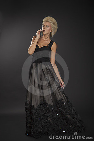 Blond lady in black dress 01