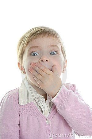 Free Blond Little Surprised Gesture Student Girl Stock Photo - 12691300