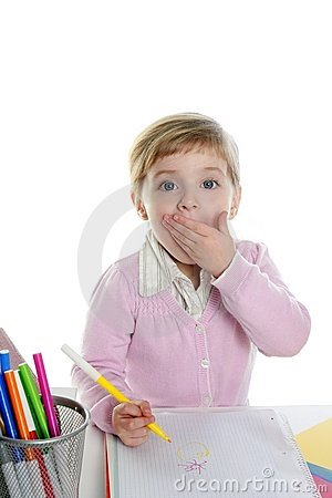Free Blond Little Surprised Gesture Student Girl Royalty Free Stock Photo - 13369445