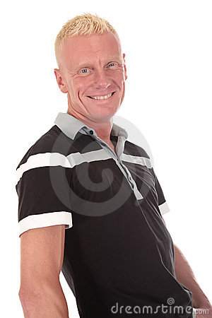 Blond man forties smiling