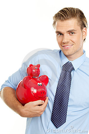 Blond man holding piggybanks
