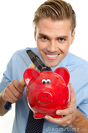 Blond man with piggybank