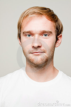 Blond man with white T-shirt