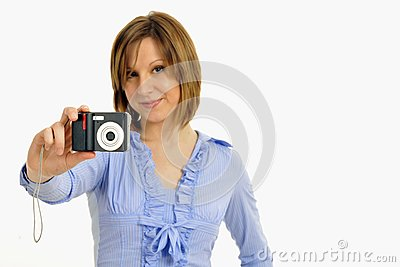 Blond model with camera