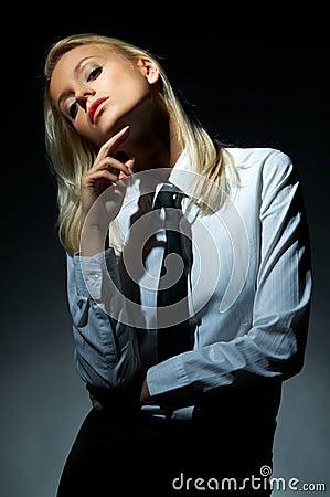 Blond model pose