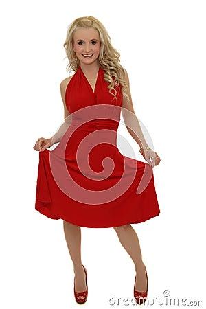 Blond model in red dress