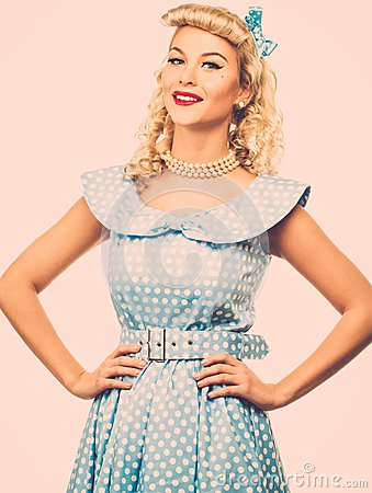 Free Blond Pin Up Woman Royalty Free Stock Photography - 39554097