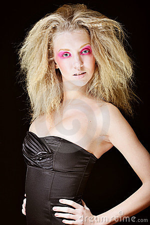 Blond with pink make up