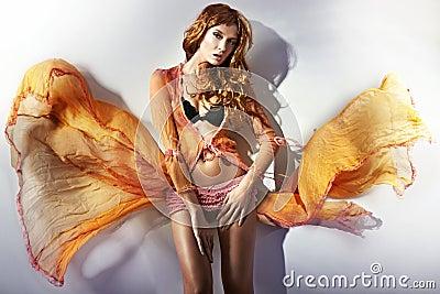 Blond posing in underwear